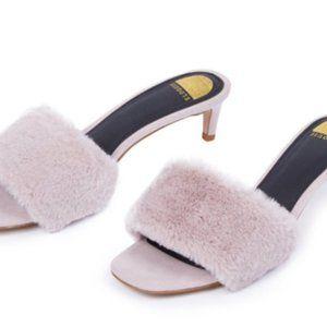 NWT Eloquii Faux Fur Sandal in Lavender